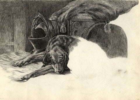 Sleeping Bloodhound Dog after Sir Edwin Landseer - Late 19th-century ink drawing