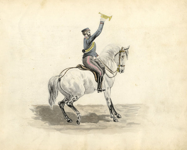Soldier on Horseback with Bugle -Original late 19th-century watercolour painting
