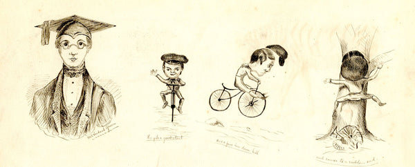Scholar on a Bicycle Cartoon - Original late 19th-century pen & ink drawing
