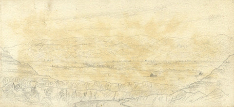 J.C. Dalton, Jordan Valley from Mar Saba, Palestine - 1894 graphite drawing