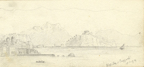 J.C. Dalton, Nisida and Pozzuoli, Italy - Original 1894 graphite drawing