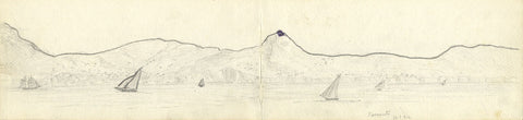 J.C. Dalton, Coast of Sorrento, Italy - Original 1894 graphite drawing