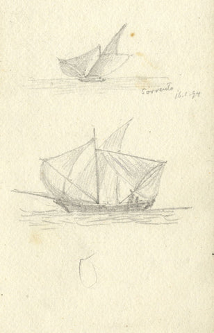 J.C. Dalton, Yawl Sailboats at Sorrento, Italy - Original 1894 graphite drawing