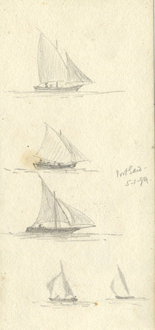 J.C. Dalton, Feluccas at Port Said, Egypt - Original 1894 graphite drawing