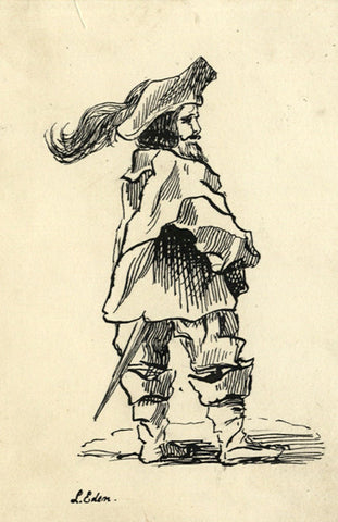 L. Eden, Musketeer - Original mid-19th-century pen & ink drawing