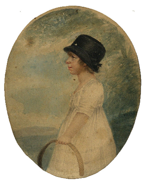 Girl with a Hoop - Original early 19th-century watercolour painting