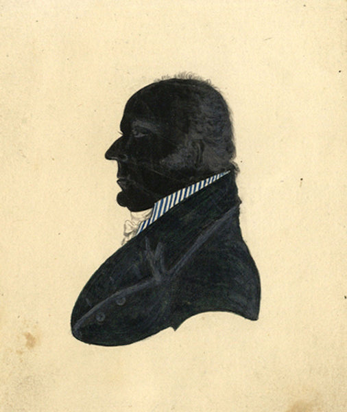 Silhouette of Man in High-collared Coat - 19th-century pen & ink drawing