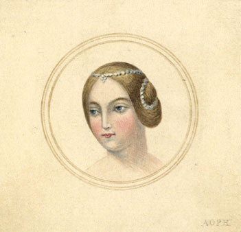 Arthur Prichard Harrison, Woman w. Side Buns - Original 19th-century watercolour