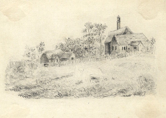 Arthur Prichard Harrison, Farm Cottages - Original 19th-century graphite drawing