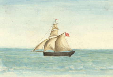 Arthur Prichard Harrison, Sloop - Original 19th-century watercolour