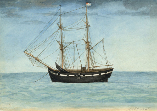 Arthur Prichard Harrison, Galleon at Sea - Original mid-19th-century watercolour
