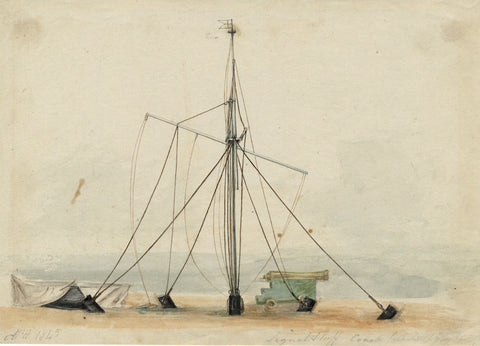 Arthur Prichard Harrison, Signal Staff & Cannon - Original 1845 watercolour