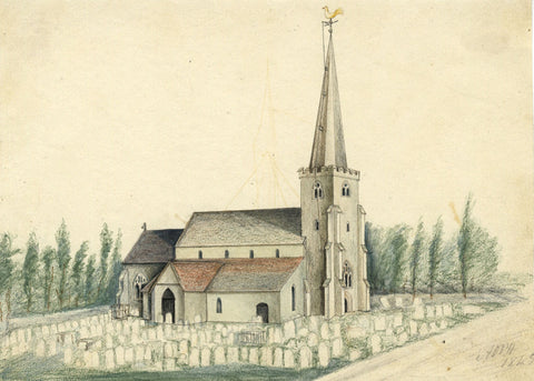 Arthur Prichard Harrison, St Andrews Church, Tarring, Worthing - 1845 drawing