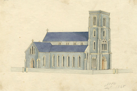 Arthur Prichard Harrison, Christ Church, Worthing, Sussex - 1845 watercolour