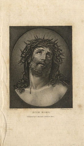 Head of Christ - Original mid-19th-century engraving print