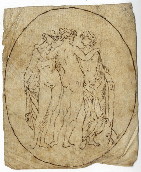 Arthur Prichard Harrison, Three Graces - Original 19th-century pen & ink drawing