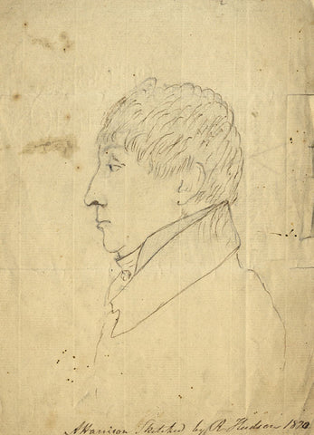 R Hudson, Portrait of AP Harrison - Original mid-19th-century pen & ink drawing