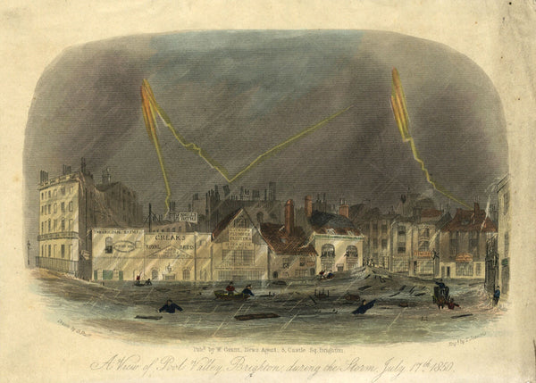 A Flood in Brighton, Sussex - Original mid-19th-century engraving print