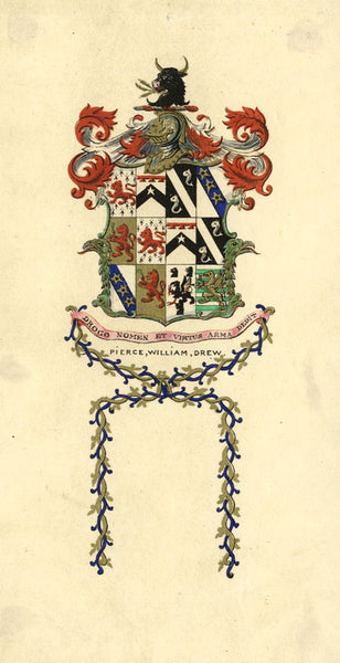 Arthur Prichard Harrison, Coat of Arms - Original mid-19th-century watercolour