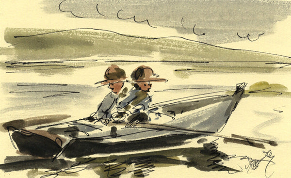 Thomas O'Donnell, Two Boys in a Rowboat - Contemporary watercolour painting