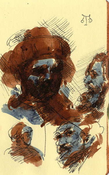 Thomas O'Donnell, Old Master Head Studies - Contemporary pen & ink drawing