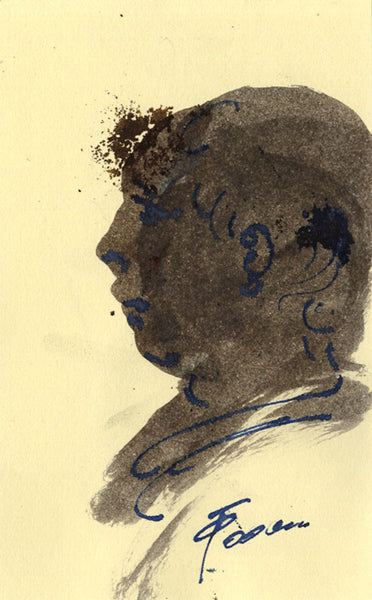 Thomas O'Donnell, Male Portrait in Profile - Contemporary watercolour painting