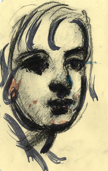 Thomas O'Donnell, Child Head Portrait  - Original contemporary charcoal drawing