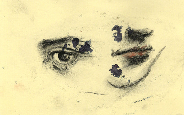Thomas O'Donnell, Eye and Mouth Study - Original contemporary charcoal drawing