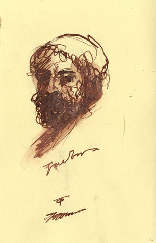 Thomas O'Donnell, Bearded Man Portrait - Original contemporary pen & ink drawing