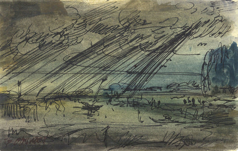 Thomas O'Donnell, Sea Storm Clouds over Bay - Contemporary pen & ink drawing