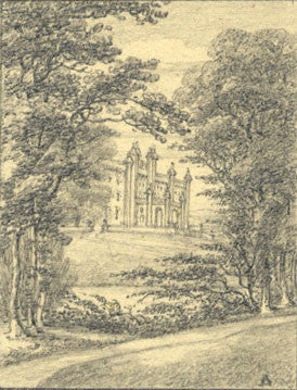 Charlotte St Asaph, House through Trees - Early 19th-century graphite drawing