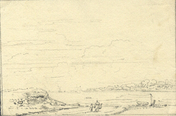 Attrib. Thomas Hearne, Landscape with River -Early 19th-century graphite drawing