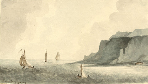 Henry Percy, Sailing Boats at Sea - Original 1805 watercolour painting