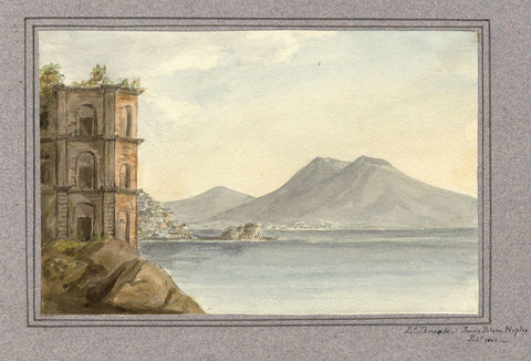 Edward Brook, Villa Donn' Anna, Naples, Italy - 1803 watercolour painting
