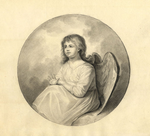 Sophie G, Cherub - Original early 19th-century graphite drawing