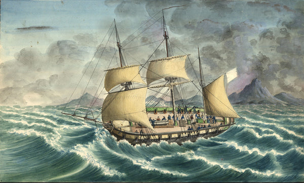 Corvette Echo Frigate Boat off Tunisia - Early 19th-century watercolour painting