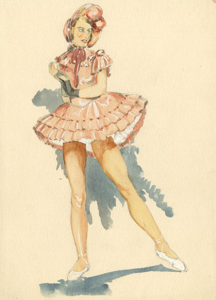P. Garst, Shepherdess Ballet Costume Design - 1930s watercolour painting