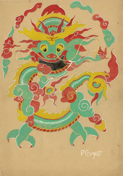 P. Garst, Chinese Dragon Theatre Costume Design - 1930s watercolour painting
