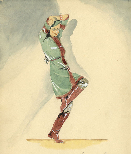P. Garst, Ballet Costume Design for 'Prince Igor' - 1935 watercolour painting