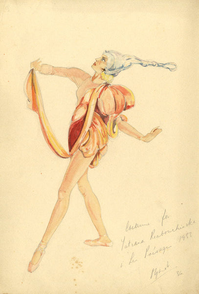 P. Garst, A. Masson, Ballet Costume Design for Les Présages - 1936 watercolour