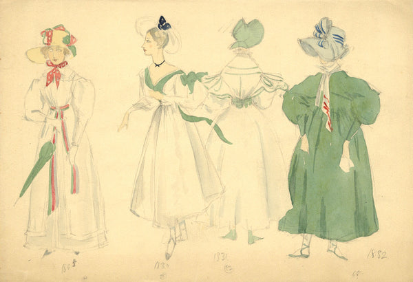 P. Garst, Costume Design Sketches, Late Georgian Ladies - 1950s watercolour