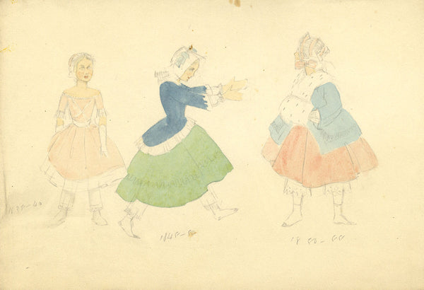 P. Garst, Victorian Women's Costume Designs - 1950s watercolour painting