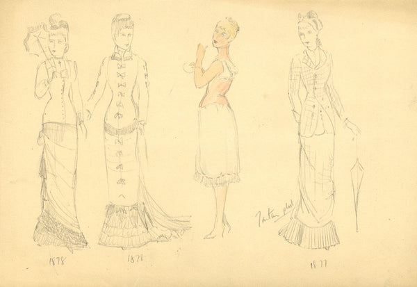 P. Garst, Women's Fashion Drawings of the 1870s - 1950s graphite drawing