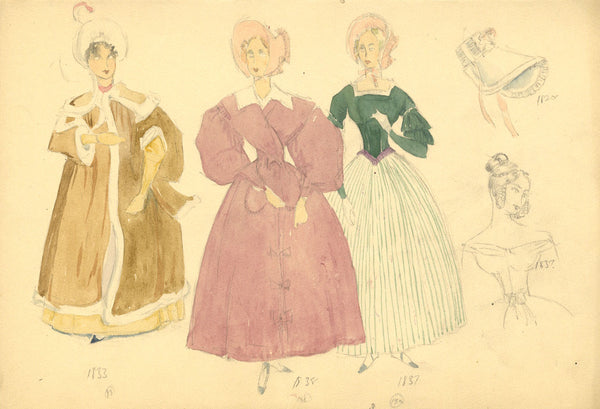 P. Garst, Costume Drawings, Women's Fashion of the 1830s - 1950s watercolour