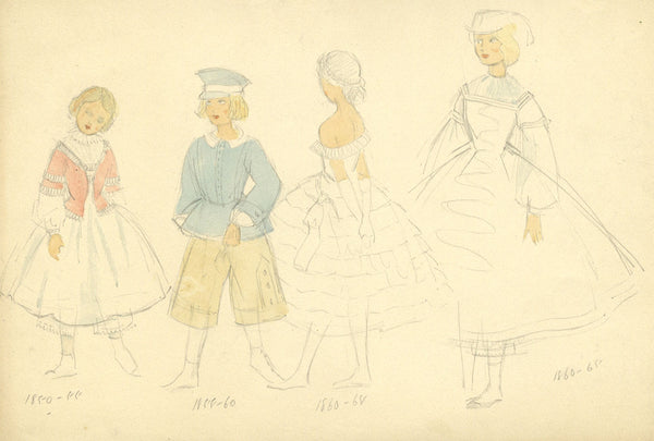 P. Garst, Young Girl's Costume Designs, 1830s - 1950s watercolour painting