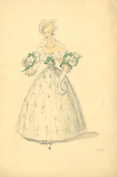 P. Garst, Bridal Costume Design c. 1835 - 1950s watercolour painting