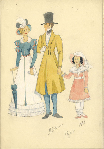 P. Garst, Georgian Family Costume Designs c. 1820 - 1950s watercolour painting