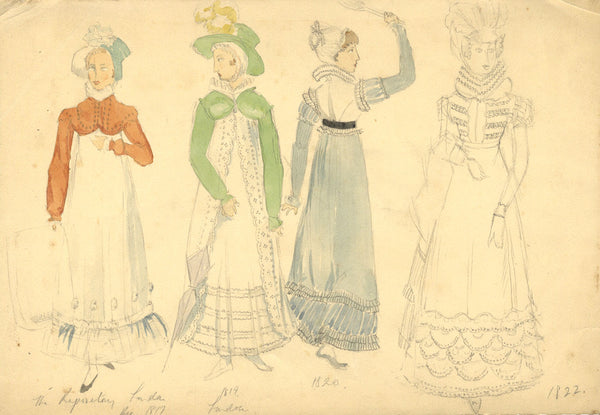 P. Garst, Women's Fashion Sketches of the early 1810s - 1950s watercolour
