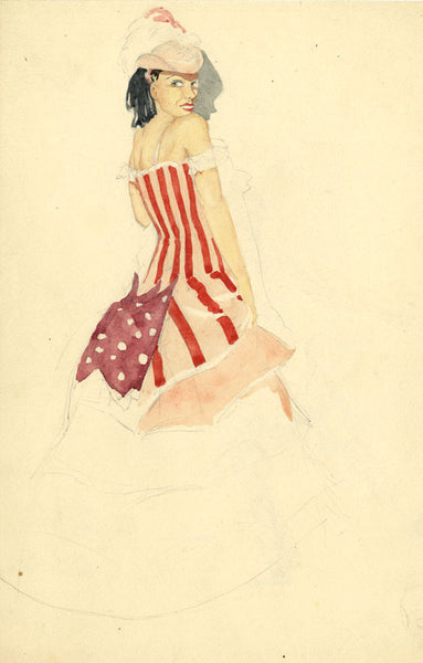 P. Garst, Pinto Bros., Women's Costume Design, 'Barn Dance' - 1937 watercolour