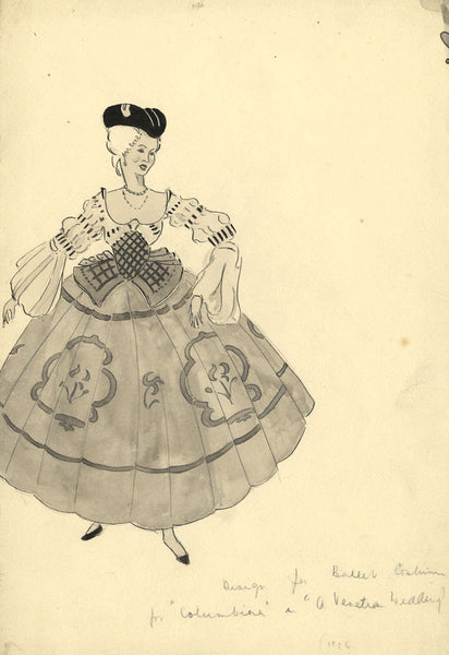 P. Garst, L. Irving, Costume Design for 'A Venetian Wedding' - 1930s watercolour